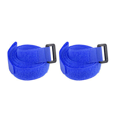 2pcs Hook and Loop Straps, 3/4-inch x 35-inch Securing Straps Cable Tie (Blue)