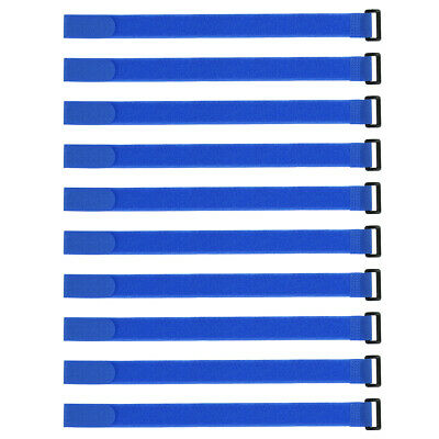 10pcs Hook and Loop Straps, 1-inch x 16-inch Securing Straps Cable Tie (Blue)
