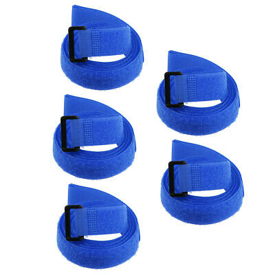 5pcs Hook and Loop Straps, 1-inch x 39-inch Securing Straps Cable Tie (Blue)