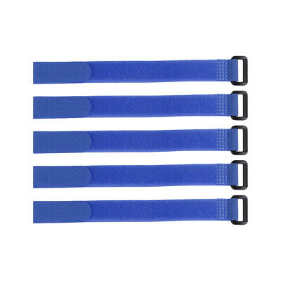5pcs Hook and Loop Straps, 3/4-inch x 14-inch Securing Straps Cable Tie (Blue)