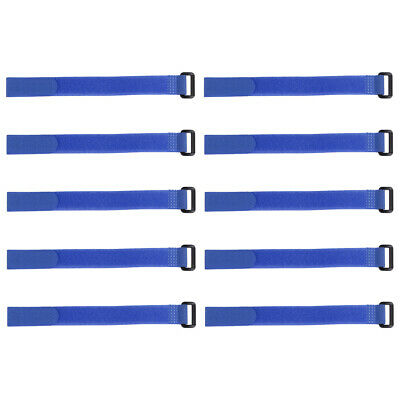 10pcs Hook and Loop Straps, 3/4-inch x 14-inch Securing Straps Cable Tie (Blue)