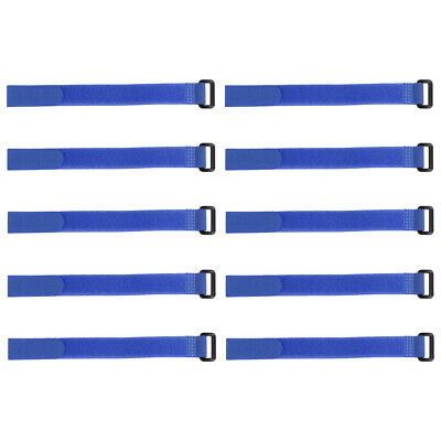 10pcs Hook and Loop Straps, 3/4-inch x 18-inch Securing Straps Cable Tie (Blue)