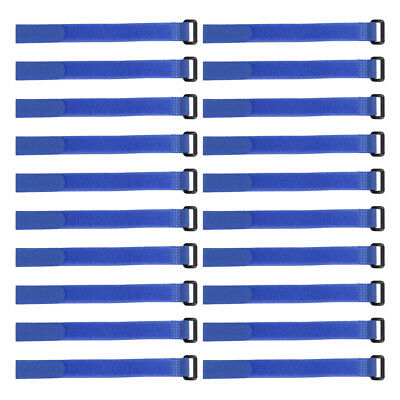 20pcs Hook and Loop Straps, 3/4-inch x 14-inch Securing Straps Cable Tie (Blue)