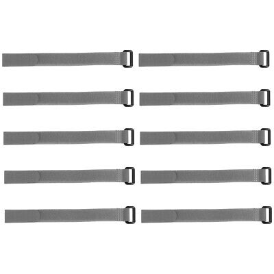 10pcs Hook and Loop Straps, 3/4-inch x 18-inch Securing Straps Cable Tie (Gray)