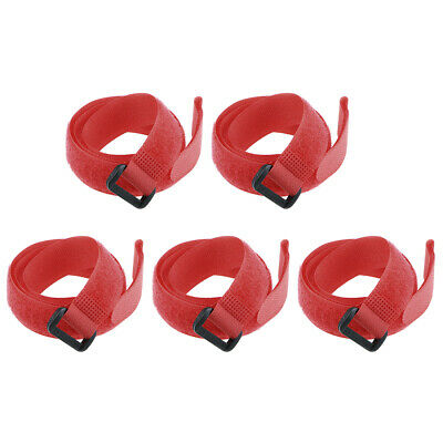 5pcs Hook and Loop Straps, 3/4-inch x 24-inch Securing Straps Cable Tie (Red)