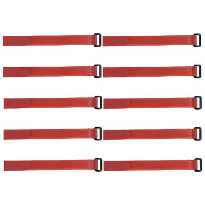 10pcs Hook and Loop Straps, 3/4-inch x 20-inch Securing Straps Cable Tie (Red)