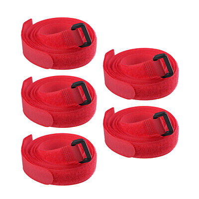 5pcs Hook and Loop Straps, 3/4-inch x 47-inch Securing Straps Cable Tie (Red)
