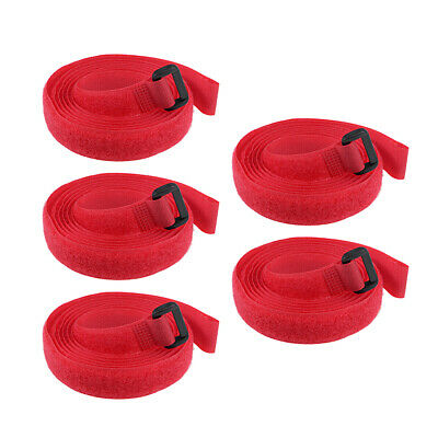 5pcs Hook and Loop Straps, 3/4-inch x 59-inch Securing Straps Cable Tie (Red)