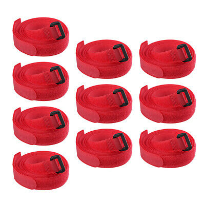 10pcs Hook and Loop Straps, 3/4-inch x 47-inch Securing Straps Cable Tie (Red)