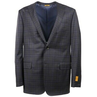 NWT $1695 HICKEY FREEMAN 'Beacon' Charcoal Gray-Blue Check Wool Suit 42 L