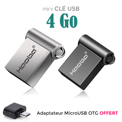 4 Go Mini Nano Clé USB 4gb Flash Drive Disk Memoire + Adaptateur OTG Micro USB