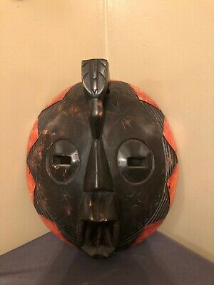 Vintage Hand Carved Painted Wooden Mask - Wall Decor Tribal Art