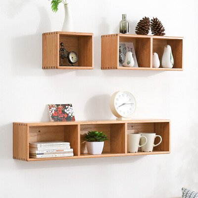 Wooden Floating Cube Shelves 3 Size Wall Hanging Storage Display Home Decor