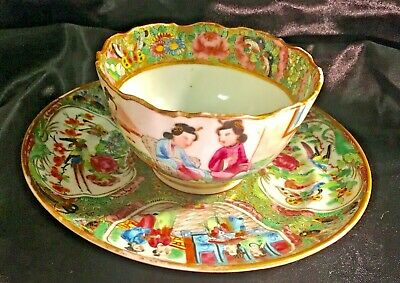 Antique Chinese Export Famille Rose Teacup Cup And Saucer Geisha Story Panel