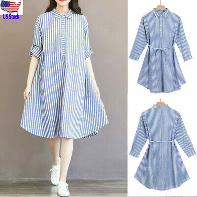 Womens Pregnancy Casual Loose Striped Dress Long Sleeve Sundress Maternity Cloth