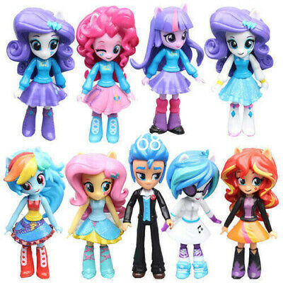 9PCS My Little Pony Equestria Girls Figures 13cm Monster High Dolls Toys Set