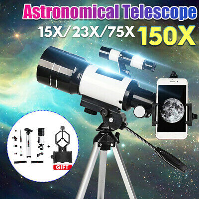 Travel Tripod Astronomical Refractor Telescope 70mm Aperture 300mm Focal Length