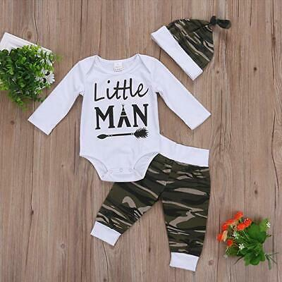 Baby For This Little Boy We Have Prayed Printed Top Pants Hat 3pcs Outfits *
