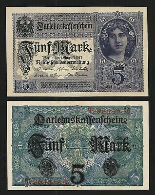 Germany 5 Mark 1917 XF P-56 With Completely Watermark