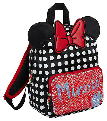 Disney Minnie Mouse Reversible Sequin Backpack Girls 3D Ears School Lunch Bag