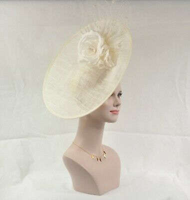 Ivory/Off White Sinamay Disc Fascinator Hat with Ivory w Silk, Feathers Flowers