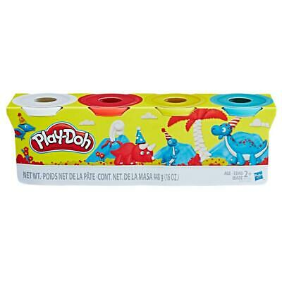 PLAY-DOH 4 PACK TUB  teal, yellow, red, white
