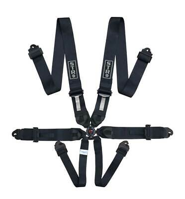 STR 6-Point Race Harness FIA 8853-2016 (2025) Safety Seat Belt IVA Safe - BLACK