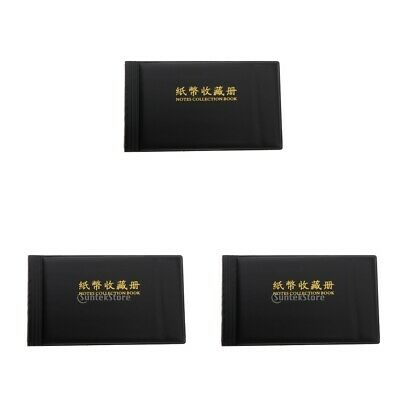 3pcs Banknote Collection Album Currency Holder Collection PU Leather Black