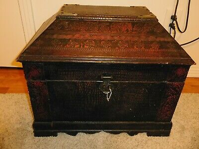 Beautiful Antique pressed stamped wood storage chest from china