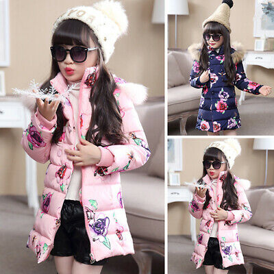 Jacket Coat Quilted Parka Puff coat Girls Floral Padded Winter Thicken