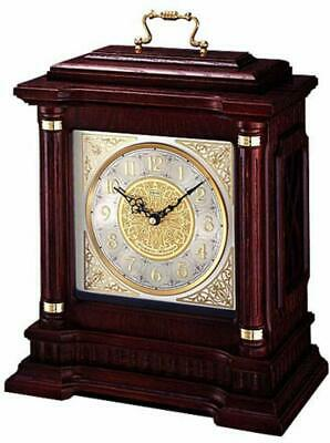 Seiko QXJ004BLH Mantel Chime Carriage Clock with Hand-Rubbed Finish Dark Brown