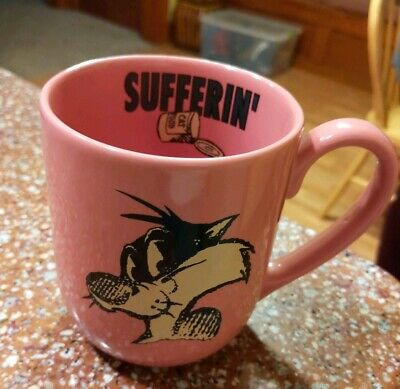 Vintage 90s Sylvester Cat Looney Tunes Cartoons Mug Coffee Cup Pink Sufferin'