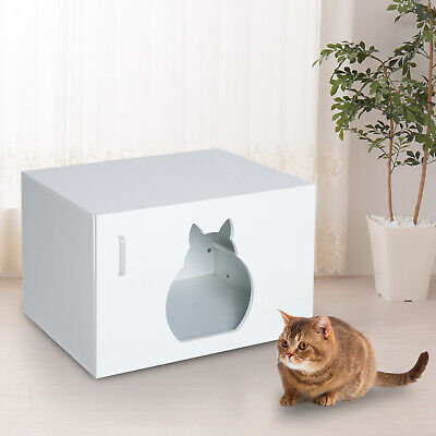 Private Pet Cat Kitten Litter Box Bathroom Door Enclosed Contained Tray Covered