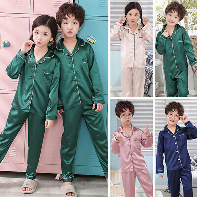 Hot Girls Silk Satin Pajamas Pyjamas Kids Children Sleepwear Set Nightwear 2020
