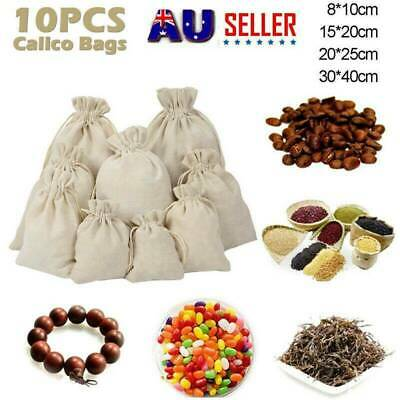 10PCS Large Calico Drawstring Bags Storage Drawstring Calico Bags Linen Bags HOT
