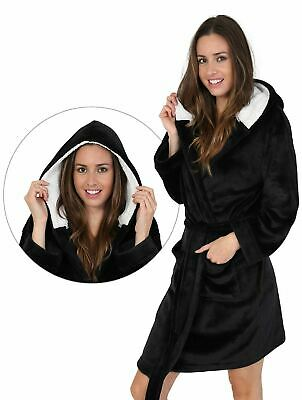 LADIES BLACK FLEECE BATH ROBE Warm Sherpa Winter Hooded Dressing Gown UK 8-22