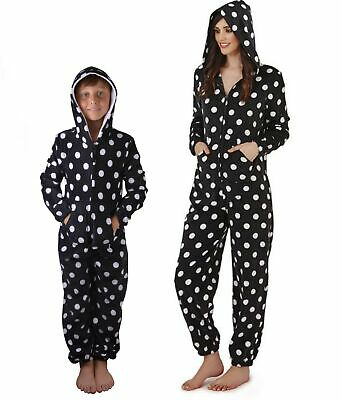 Ladies Kids Teenagers Spotted Fleece All in One Jumpsuit One Piece