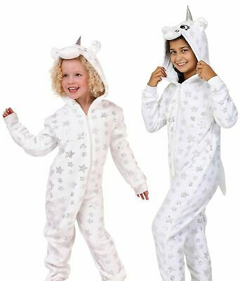 KIDS/TEENS HOODED UNICORN ALL-IN-ONE PYJAMAS Warm Cosy White Winter Pjs Age 3-14