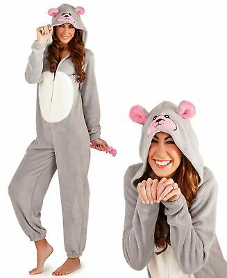 WOMANS MOUSE ALL IN ONE PYJAMAS 3D Hooded Sleepwear Onepiece Winter Jumpsuit UK