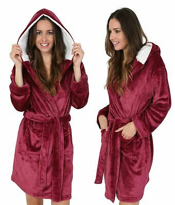 LADIES BURGUNDY FLEECE BATH ROBE Warm Sherpa Winter Hooded Dressing Gown UK 8-22