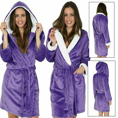 Womens Ultraviolet Short Hooded or Knee Length Fleece Robe with Sherpa Lining