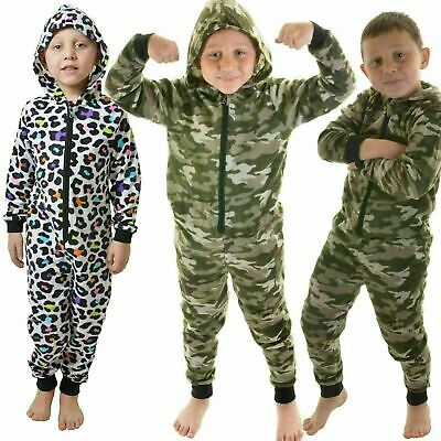 Kids Soft Fleece Hooded All in One Leopard and Action Man Camo