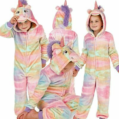 Childrens Girls  Rainbow Unicorn All in One Onezee with 3D Horn/Mane, Age 9-14