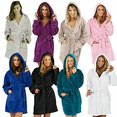 Luxury Soft Snuggle Hooded Short Bath Robe Dressing Gown With Belt (12 Colours)