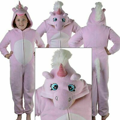 Childrens Girls  Pink Unicorn All in One Onezee with 3D Horn and Mane, Age 7-16
