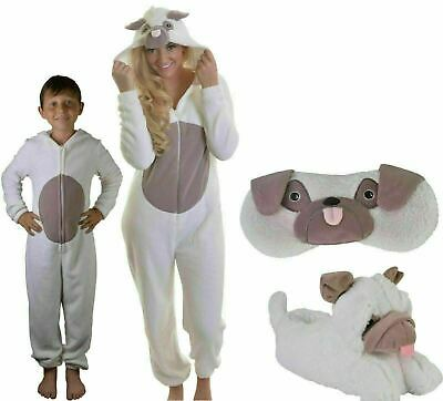 Super Soft Ladies Kids Pug Dog All-in-one Sleepsuit, Onezee, Slippers or Eyemask