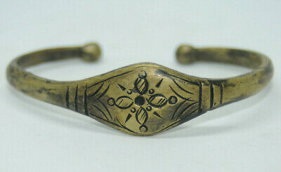 Ancient Viking bronze bracelet tracery with ornament amazing symbols rare type
