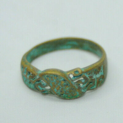 Ancient Viking bronze ring tracery with awesome details REALLY RARE TYPE
