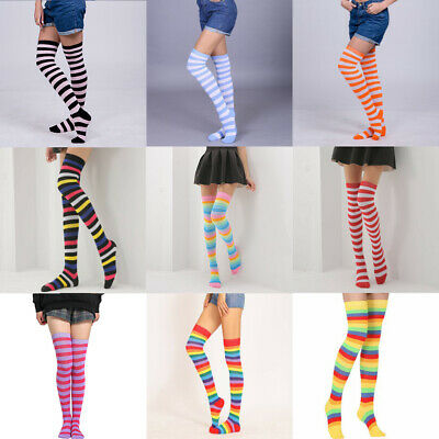 High Socks Girls Striped Plus Size Sheer Womens Thigh The Knee Stockings Over