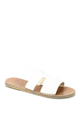 Ancient Greek Sandals Womens Leather Apteros Slide On Sandals White Size 36 6
